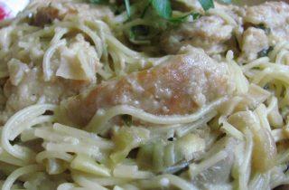 chicken cappellini and artichokes