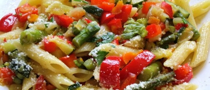 penne and vegetables