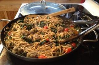 whole grain linguine with italian sausage, shiitake and kale