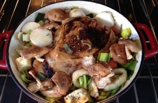 braised fresh ham with fennel, shiitake and leeks
