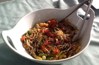 Ginger Miso Soba with roasted Asparagus and tomatoes