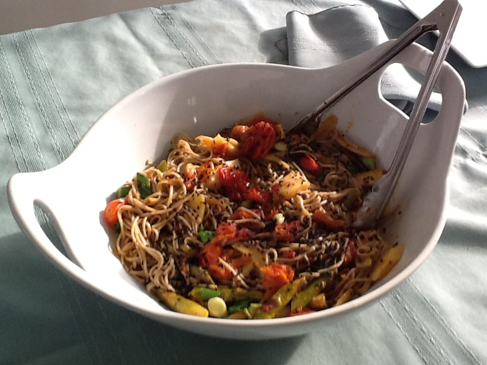 ... Recipes / Miso Ginger Soba with Roasted Asparagus, Parsnips & Tomato