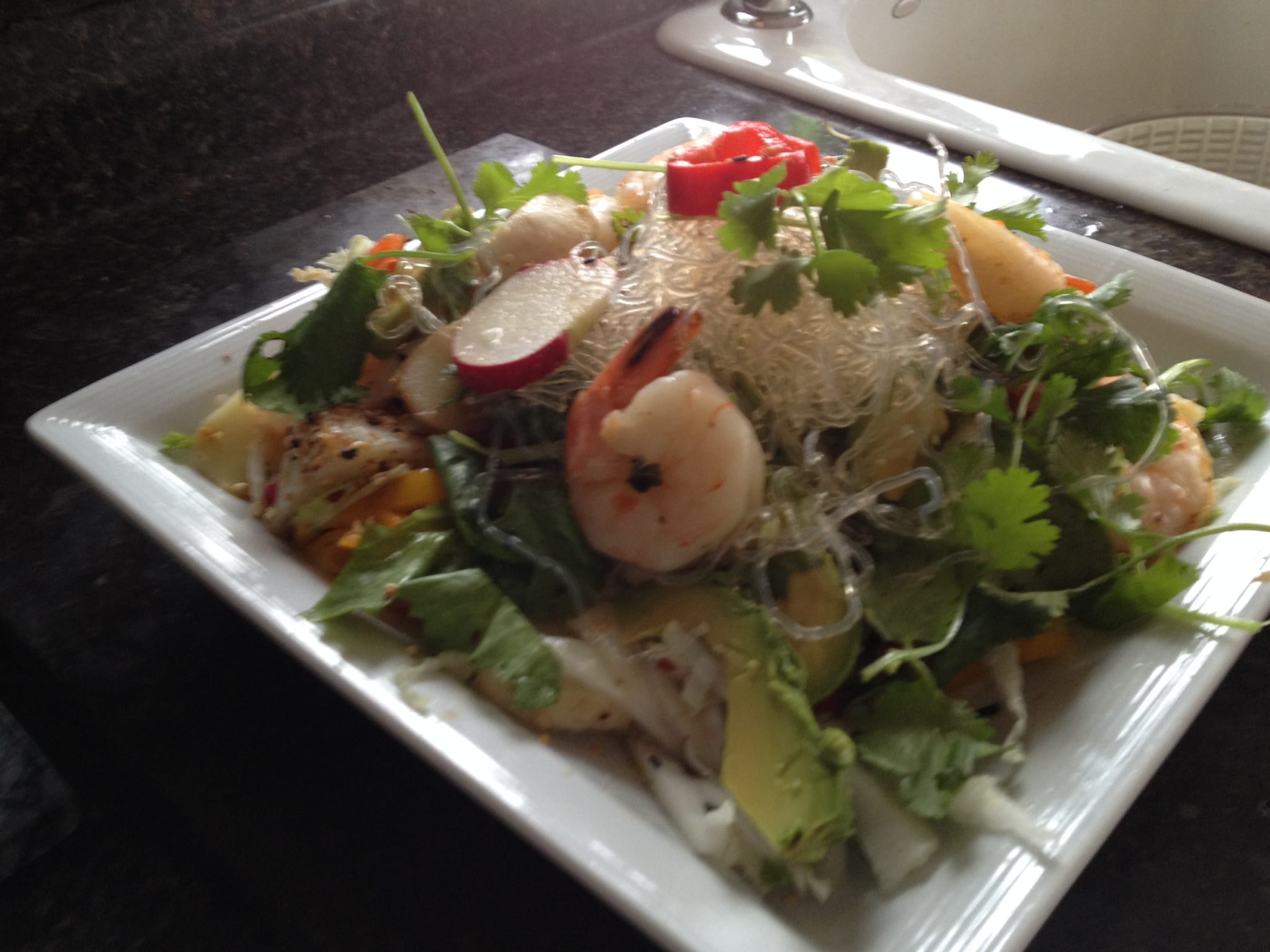 seaweed noodle and shrimp salad