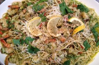 Linguine with Pesto shrimp