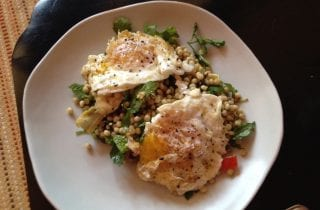 minted couscous and fried eggs