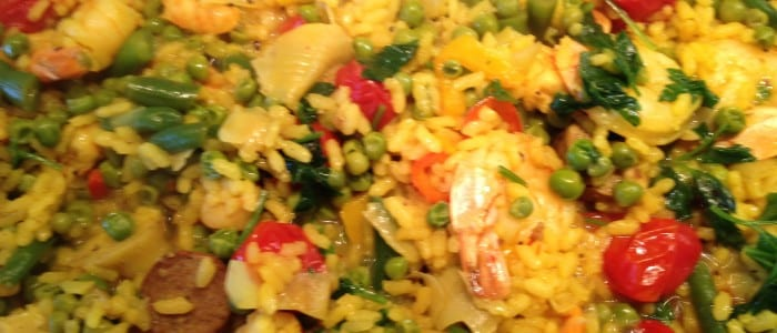 Seafood Paella with Spring Vegetables
