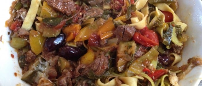 Tagliatelle with Lamb,chard and olive Ragu
