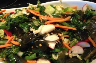 Asian Napa Slaw with Green Beans, Wakame, Cucumber and Kale