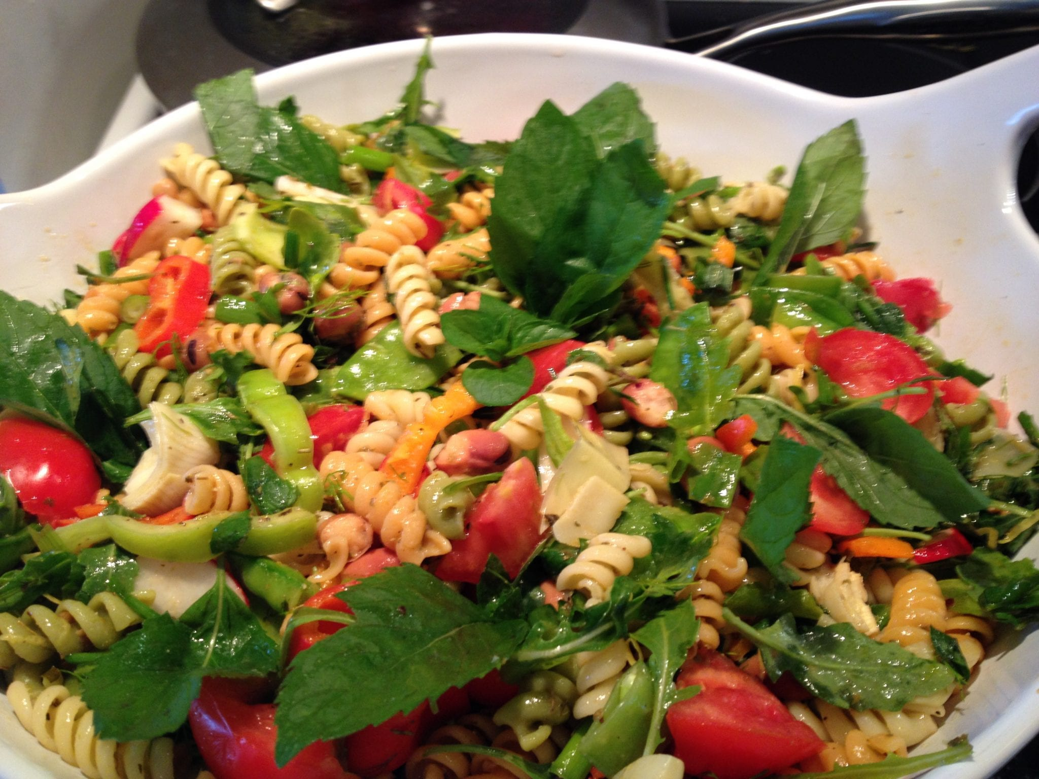 ... Cookbook / Dinner Recipes / Minted Pasta Salad with Fava and Peas