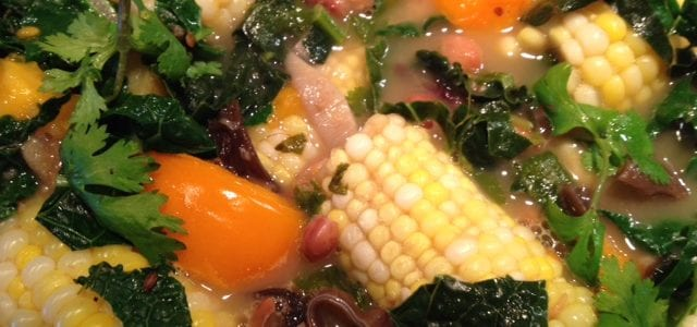 Bean and Corn Chowder with Forest Mushrooms