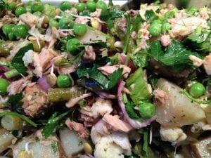 Tuna Potato Pea Salad with Fennel and Sprouts