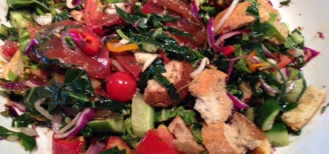 Heirloom Tomato Panzanella with Cucumbers and Collards