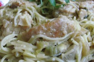chicken cappellini and artichokes