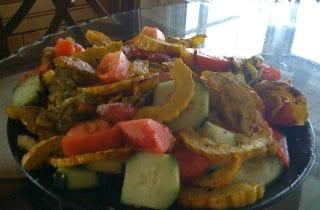 cucumber, tomato squash salad