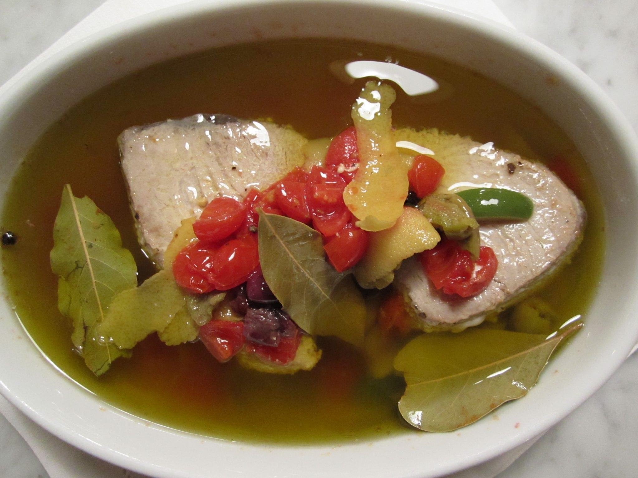 olive oil poached tuna