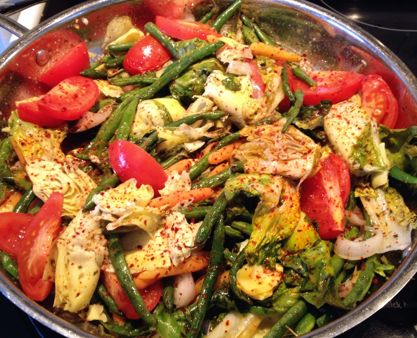 Spring Vegetable Stir Fry with escarole, shallots, green beans and artichokes