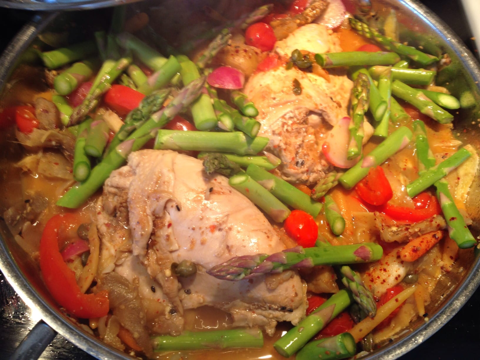 Tomato Ginger Chicken with Asparagus and Eggplant!