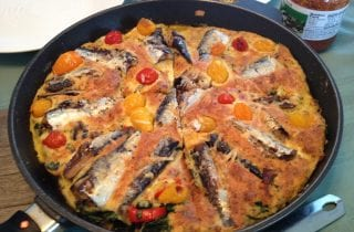 frittata con sarde with swiss chard
