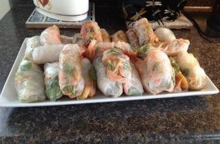 tray of spring rolls