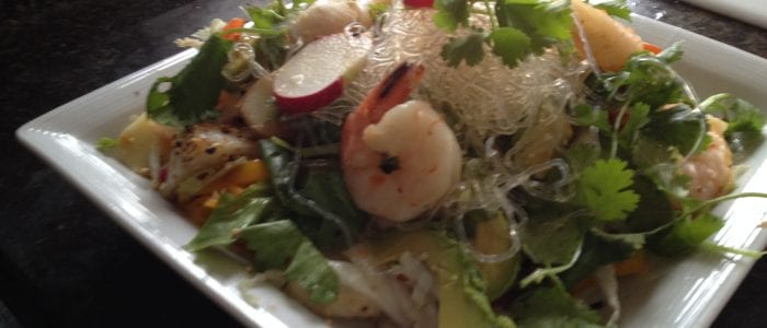 seaweed noodle and shrimp salad
