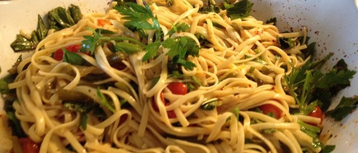 lemon basil pasta with garlic scapes and tomato