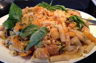 rigatoni and roasted squash with sausage and sage