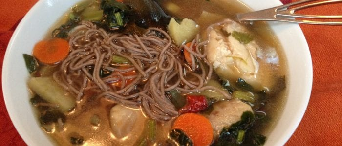 Cod in gingered Dashi with Soba