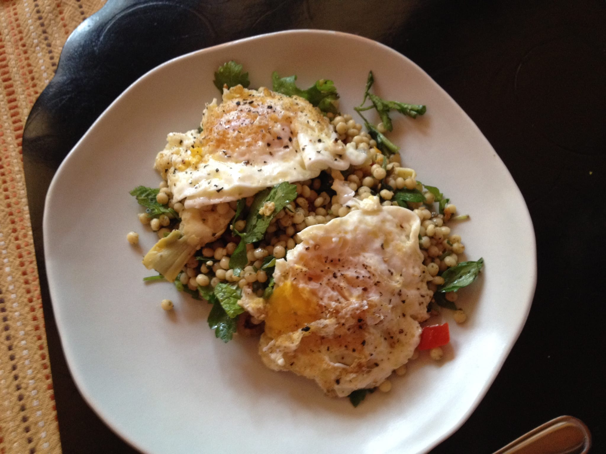 Minted Israeli Couscous with Fried Eggs