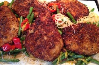 Tonkatsu over Maifun with Green Beans and Shiitake