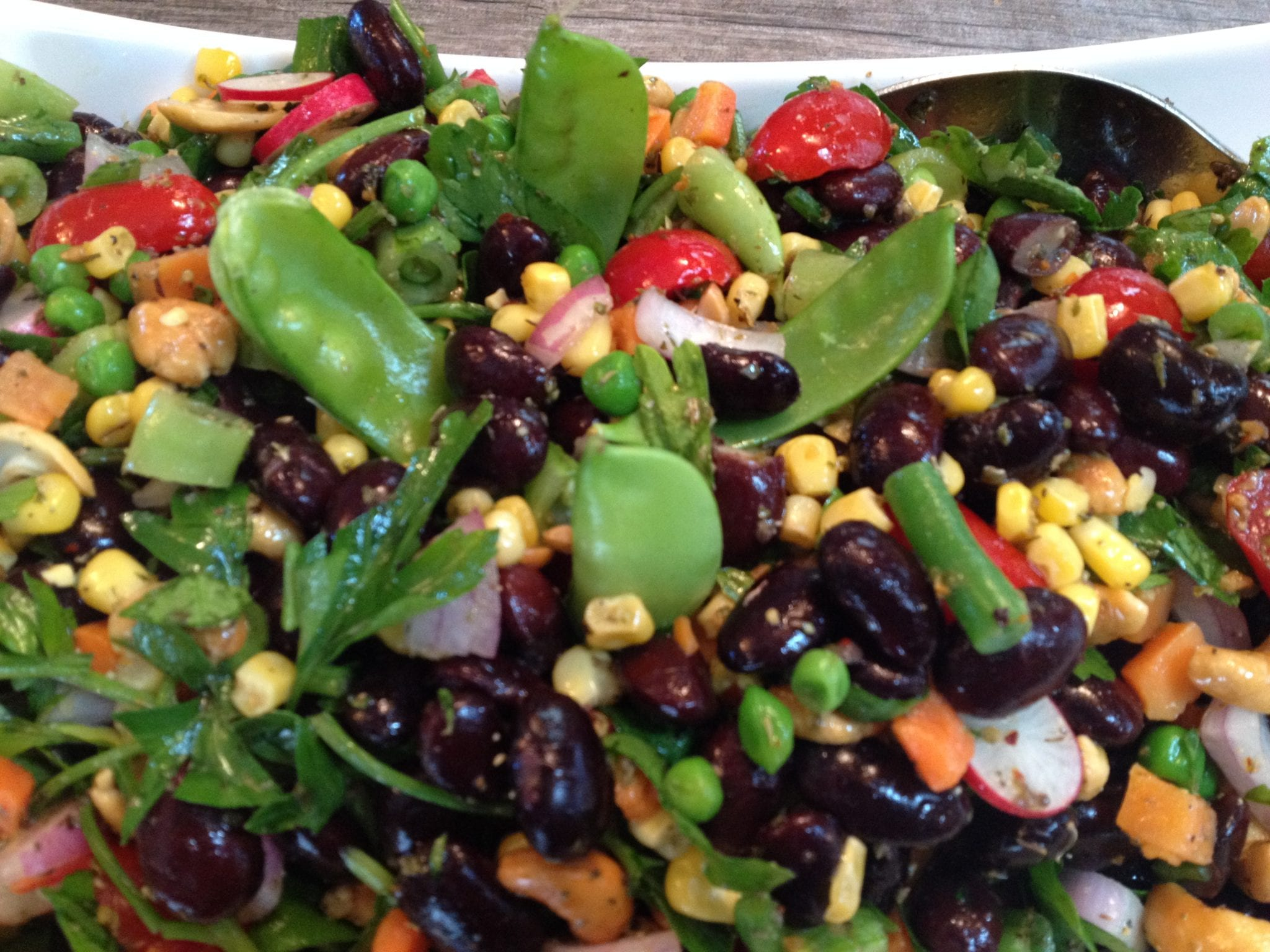Black Bean, Cashew and Pea Pod Salad