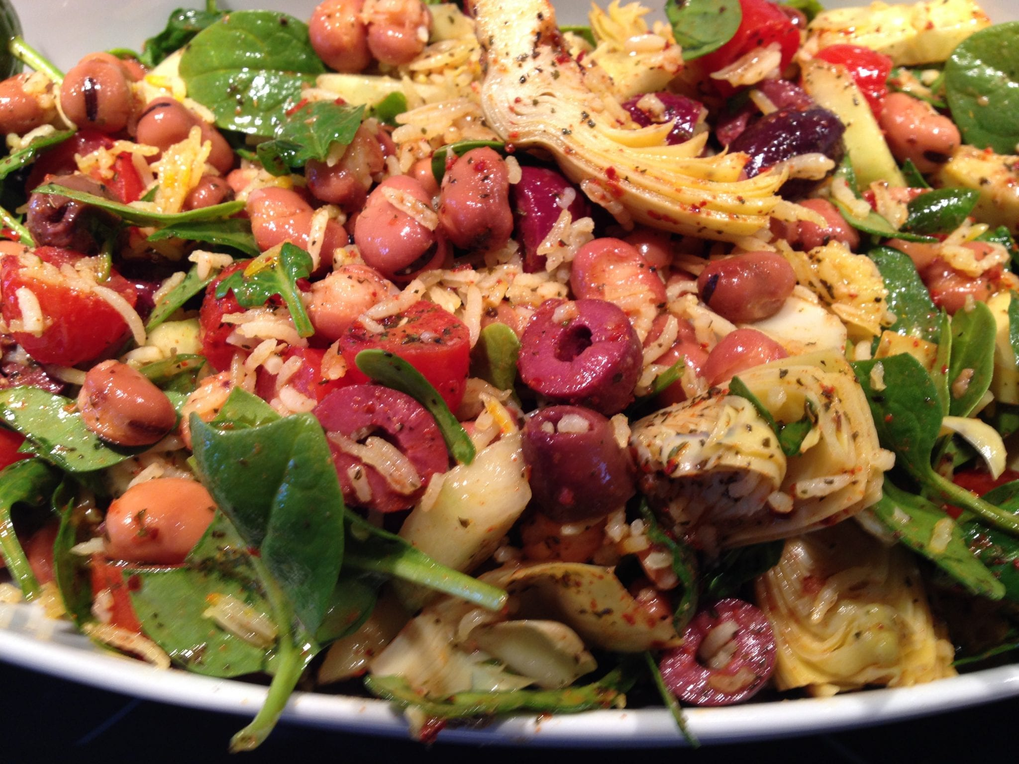 Harissa Rice and Fava Salad with Artichokes and Olives