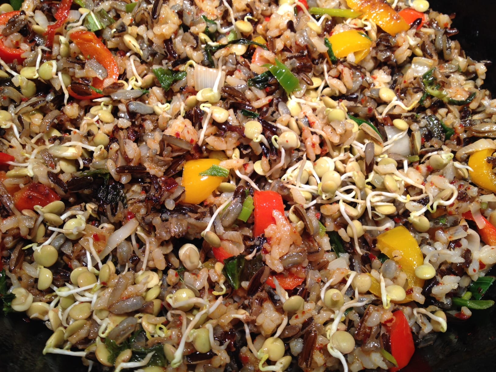 Fried Wild Rice with Mint and Lentil Sprouts