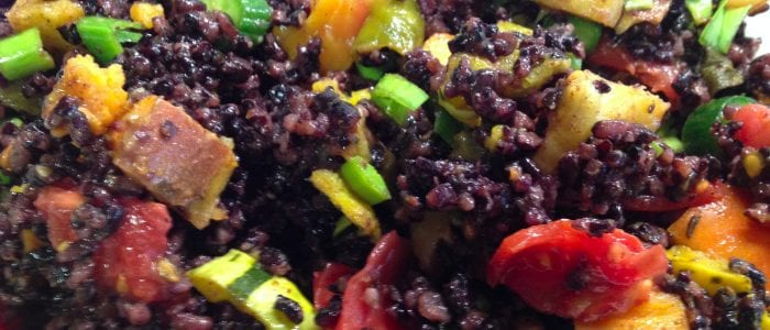 Black Rice Salad with Curried Roasted Vegetables