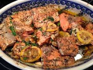 Olive oil slow roasted salmon