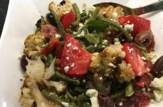 Minted Roasted Cauliflower with Green Beans and Tomatoes