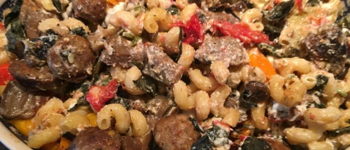 Cavatappi with Sausage Organic Vegetables and Herbs
