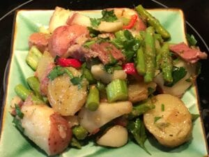 Chunky German Potato and Ham Salad with Asparagus