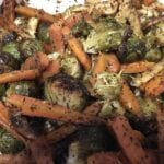 Lemon Roasted Brussel Sprouts Carrots and Parsnips