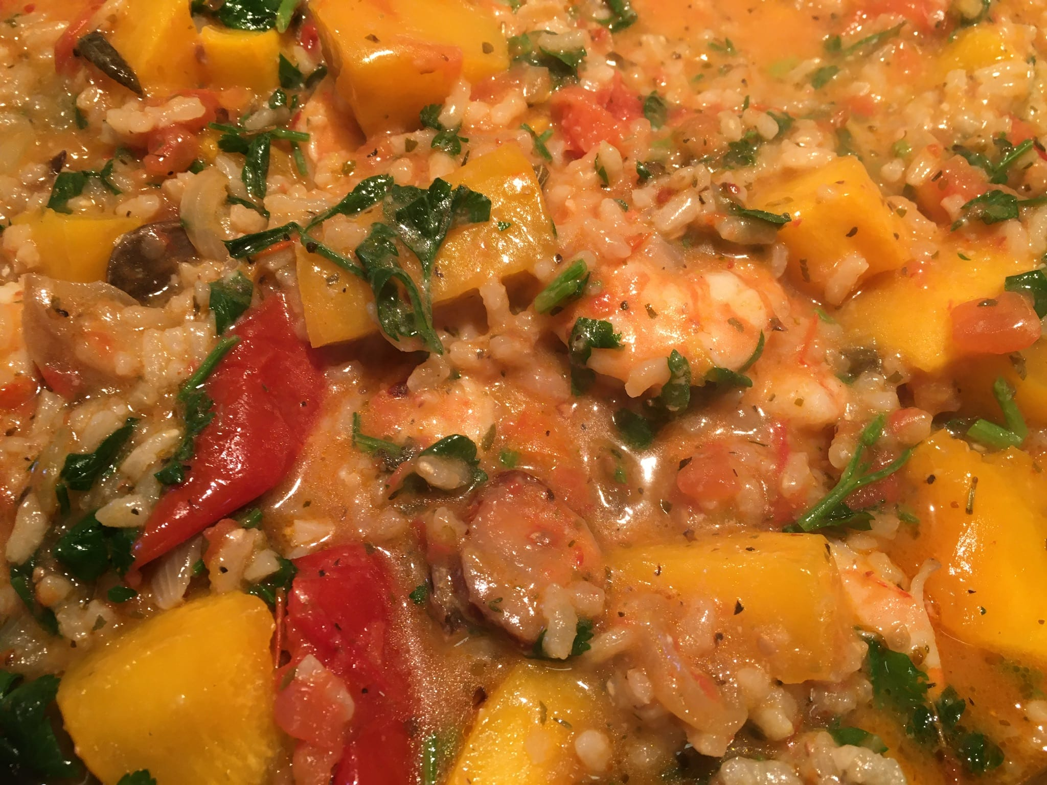 Roasted Pumpkin Risotto with Shrimp