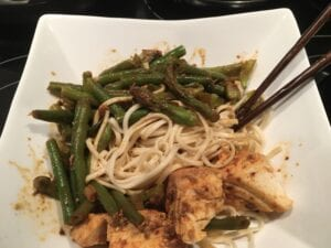 Seared Halibut and Vegetables over Udon