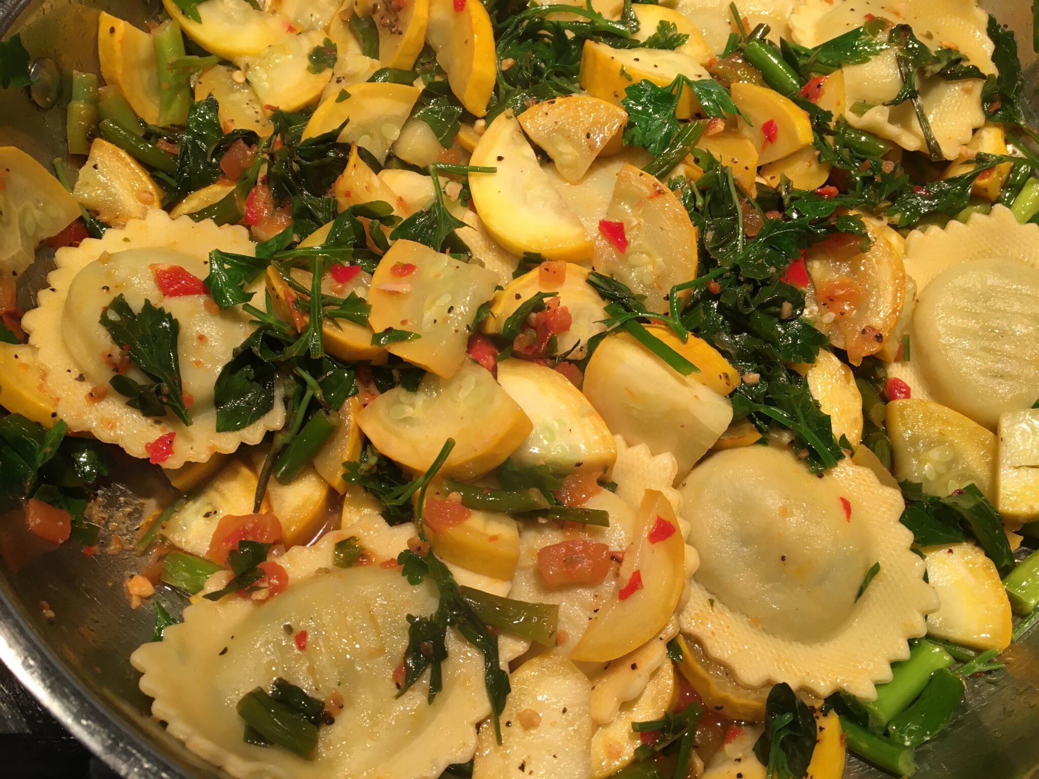 Ravioli with Fried Squash and Herbs