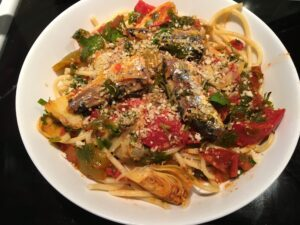 Bucatini with Artichokes and Sardines